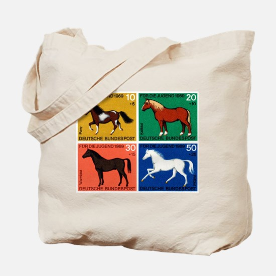 1969 Germany Horses Set Postage Stamps Tote Bag
