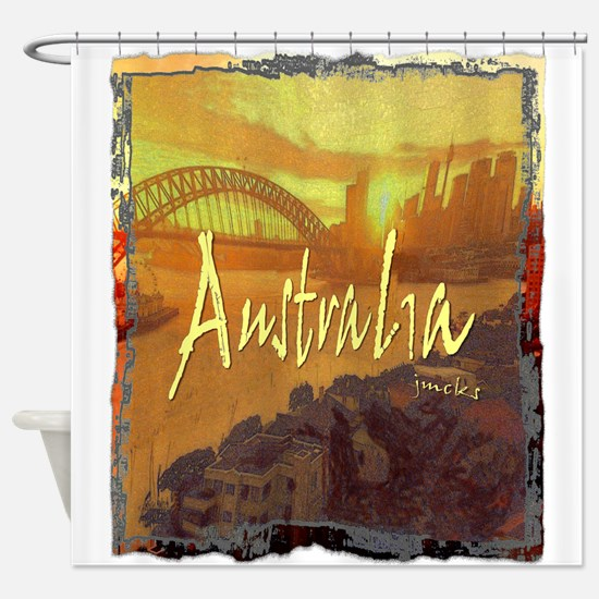 australia art illustration Shower Curtain