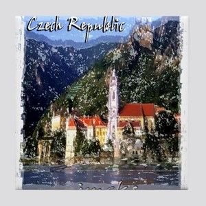 czech reublic art illustration Tile Coaster