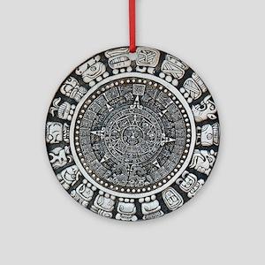 Aztec Mayan Sun Dial Ornament (Round)