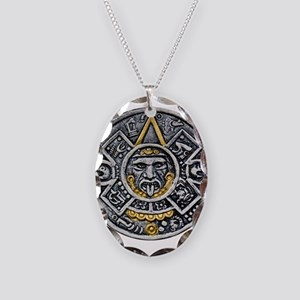 Silver and Gold Ancient Aztec Mayan Sun Dial Neckl