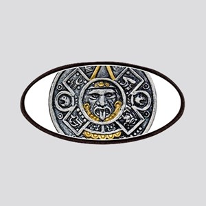 Silver and Gold Ancient Aztec Mayan Sun Dial Patch