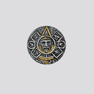 Silver and Gold Ancient Aztec Mayan Sun Dial Mini