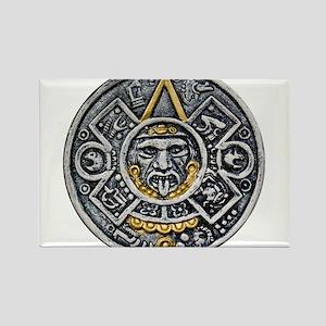 Silver and Gold Ancient Aztec Mayan Sun Dial Recta