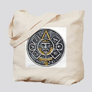 Silver and Gold Ancient Aztec Mayan Sun Dial Tote