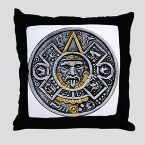 Silver and Gold Ancient Aztec Mayan Sun Dial Throw