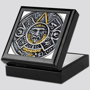 Silver and Gold Ancient Aztec Mayan Sun Dial Keeps