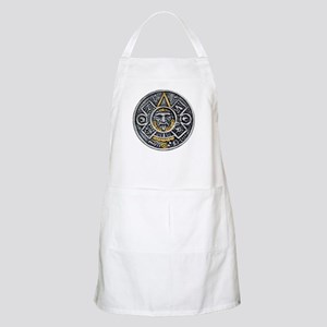 Silver and Gold Ancient Aztec Mayan Sun Dial Apron