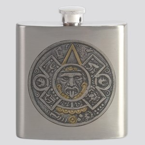 Silver and Gold Ancient Aztec Mayan Sun Dial Flask