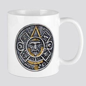 Silver and Gold Ancient Aztec Mayan Sun Dial Mug