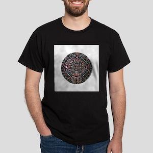 Mulit-Coloured Aztec Sun Dial Dark T-Shirt