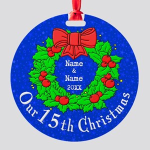 Our 15th Christmas Round Ornament