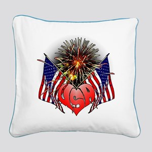 Celebrate America 3 Square Canvas Pillow