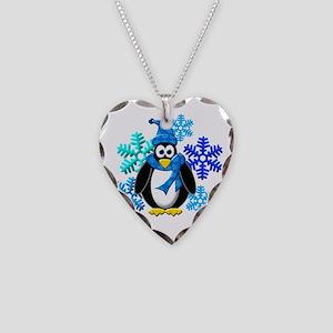 Penguin Snowflakes Winter Design Necklace Heart Ch