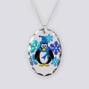 Penguin Snowflakes Winter Design Necklace Oval Cha