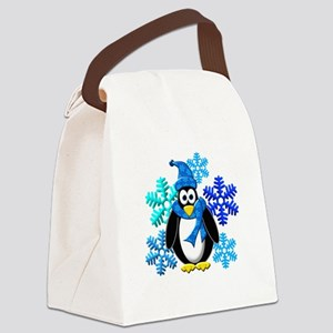 Penguin Snowflakes Winter Design Canvas Lunch Bag