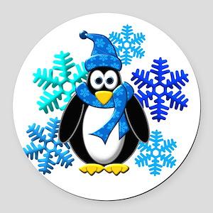 Penguin Snowflakes Winter Design Round Car Magnet