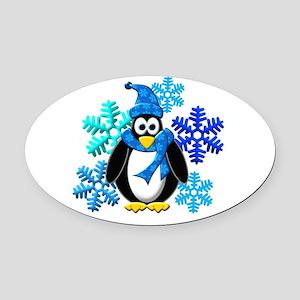 Penguin Snowflakes Winter Design Oval Car Magnet