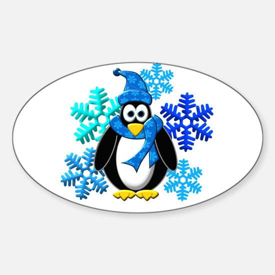 Penguin Snowflakes Winter Design Sticker (Oval)