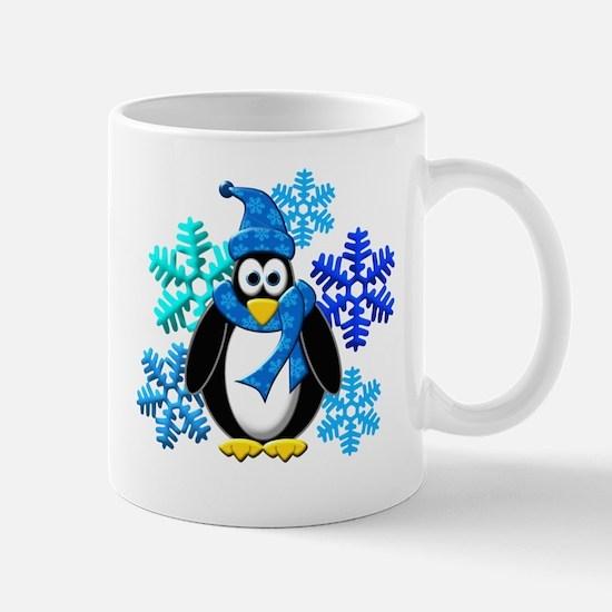 Penguin Snowflakes Winter Design Mug
