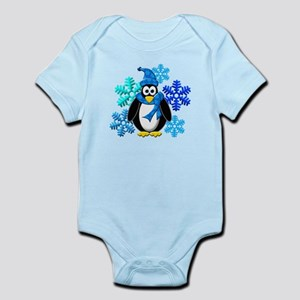 Penguin Snowflakes Winter Design Infant Bodysuit