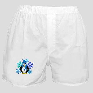Penguin Snowflakes Winter Design Boxer Shorts