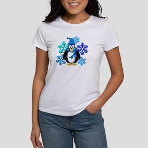 Penguin Snowflakes Winter Design Women's T-Shirt