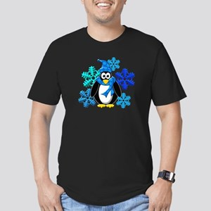 Penguin Snowflakes Winter Design Men's Fitted T-Sh