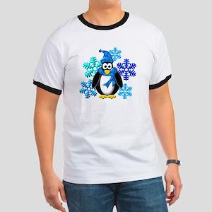Penguin Snowflakes Winter Design Ringer T