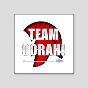 "Team Oorah white logo Square Sticker 3"" x 3"""
