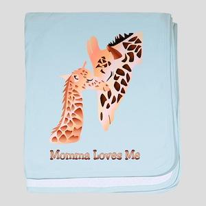 Momma Loves me baby giraffe baby blanket