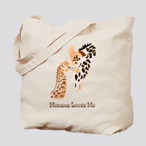 Momma Loves me baby giraffe Tote Bag