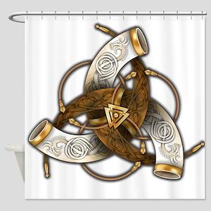 Odin's Triple Horns Shower Curtain