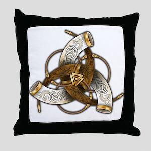 Odin's Triple Horns Throw Pillow