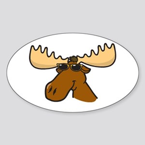 moose with sunglasses Sticker (Oval)