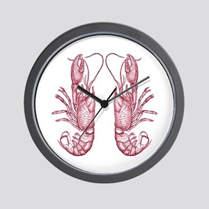 Vintage Lobsters in Red Wall Clock