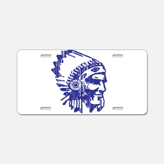Blue Indian Vintage Aluminum License Plate