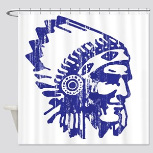 Blue Indian Vintage Shower Curtain