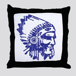 Blue Indian Vintage Throw Pillow