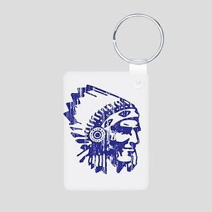 Blue Indian Vintage Aluminum Photo Keychain
