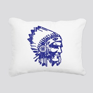 Blue Indian Vintage Rectangular Canvas Pillow