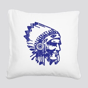Blue Indian Vintage Square Canvas Pillow