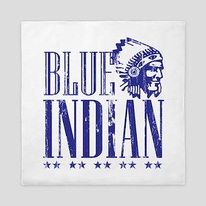 Blue Indian Head Dress Vintage Queen Duvet