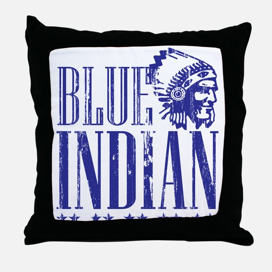 Blue Indian Head Dress Vintage Throw Pillow