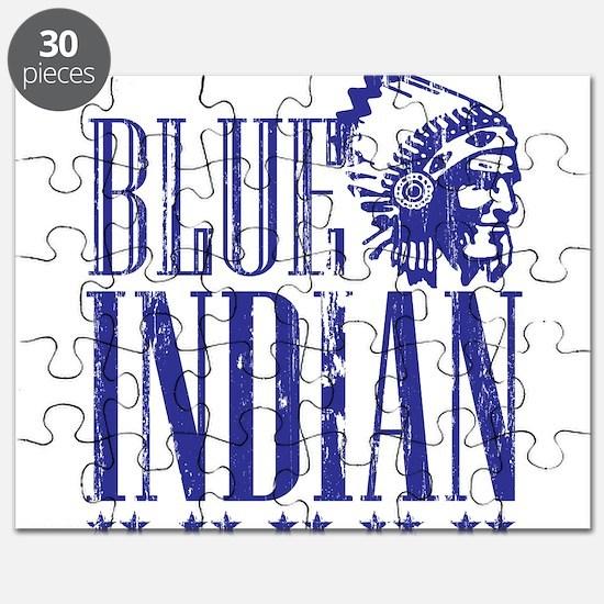 Blue Indian Head Dress Vintage Puzzle