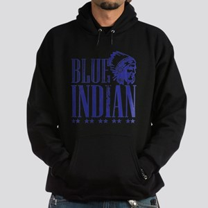 Blue Indian Head Dress Vintage Hoodie (dark)