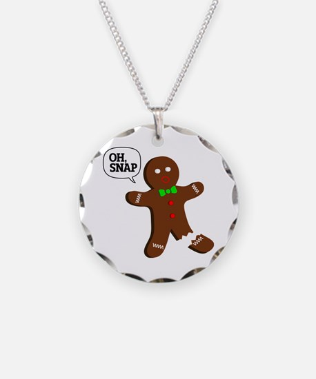Oh, Snap! Funny Gingerbread Christmas Gift Necklac