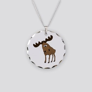 Cute moose Necklace Circle Charm