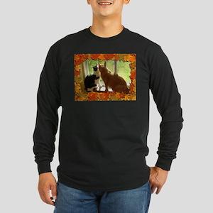 Autumn Cats/Orange Tabby Long Sleeve Dark T-Shirt