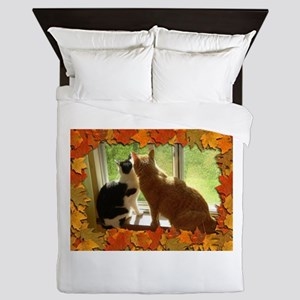 Autumn Cats/Orange Tabby Queen Duvet